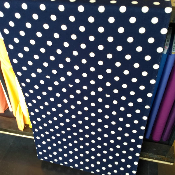 Cotton Canvas / Medium Polka Dot / Navy