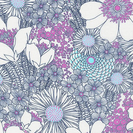 Digital Rayon Challis in Floral Orchid