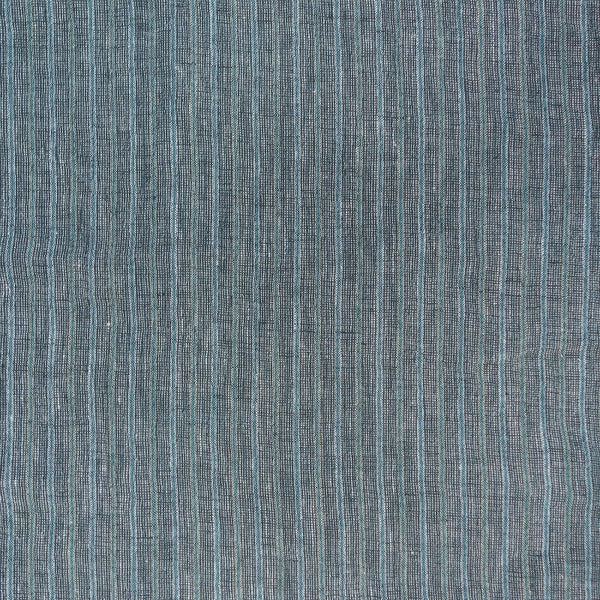 Yarn Dyed Crinkle Linen / Teal Trio Stripe