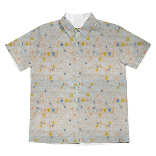 Cotton Print / Triangles / Iced Peach