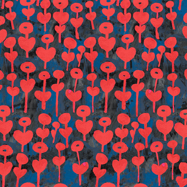 Rayon Challis / Love Flower / Cherry