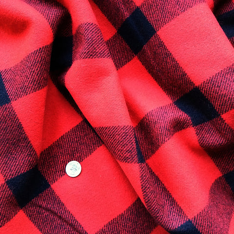 Wool Coating in Red Black Plaid