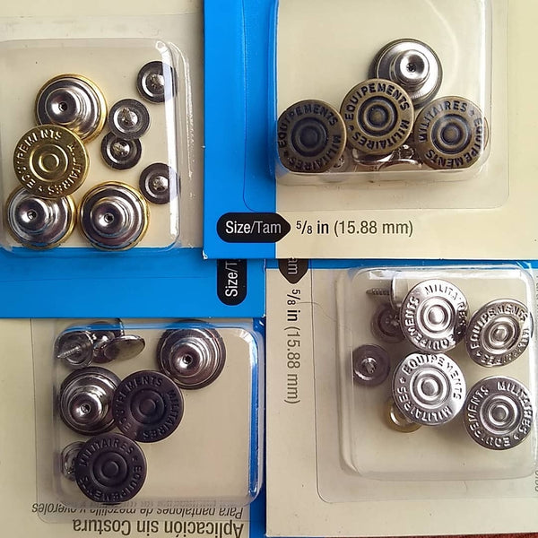 Dungaree Buttons / 4 Finishes