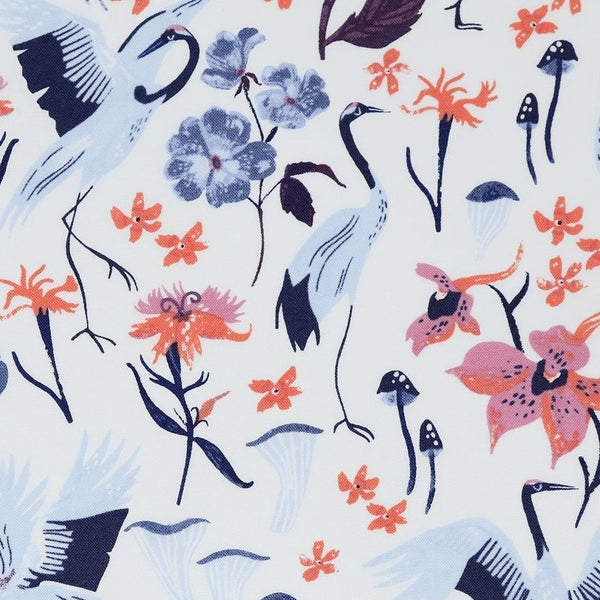 Cotton Print / White Cranes