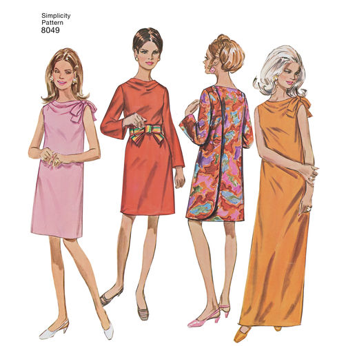 White 8-10-12-14-16 K5 Paper Simplicity Sewing Pattern 8049K5 Misses Vintage 1960s Three Armhole Dress