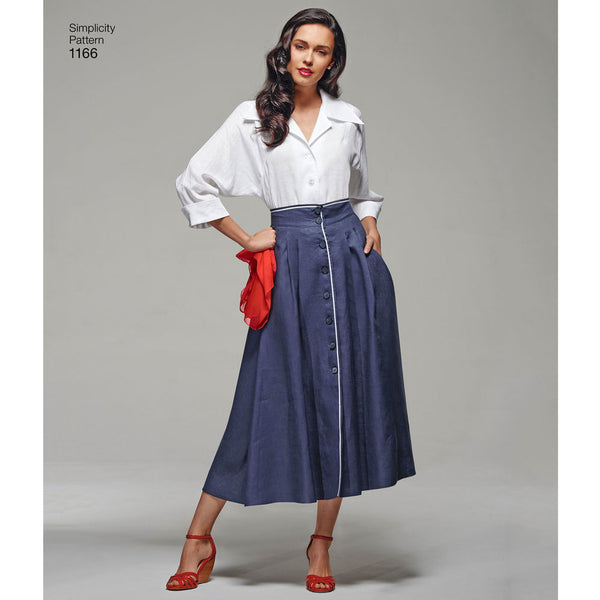 1166 / 1950s Vintage Blouse + Skirt + Bra Top