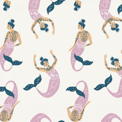 Cotton Print / Tattoo Mermaid