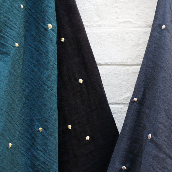 Stardust Embroidered Double Gauze / Black