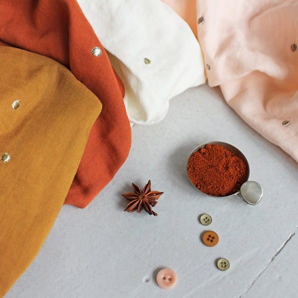 Stardust Embroidered Double Gauze in Ochre