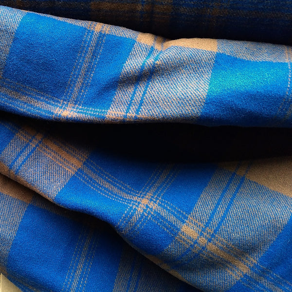 Wool Coating in Blue Plaid