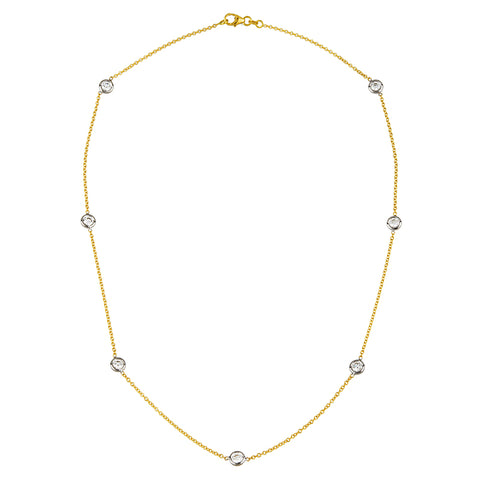 Diamond Bezel Necklace Two Tone Gold 18k