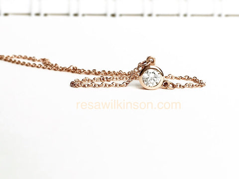 Diamond Solitaire Necklace Bezel Set 14k Rose Gold