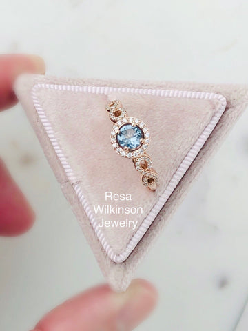 Slate Blue Spinel and Diamond Rose Gold Engagement
