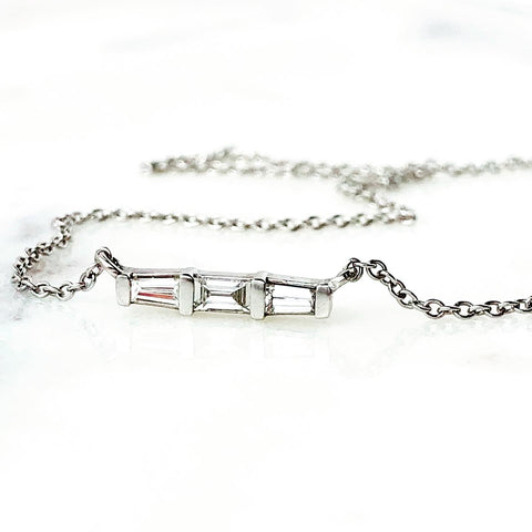 Diamond Baguette Bar Necklace 14k