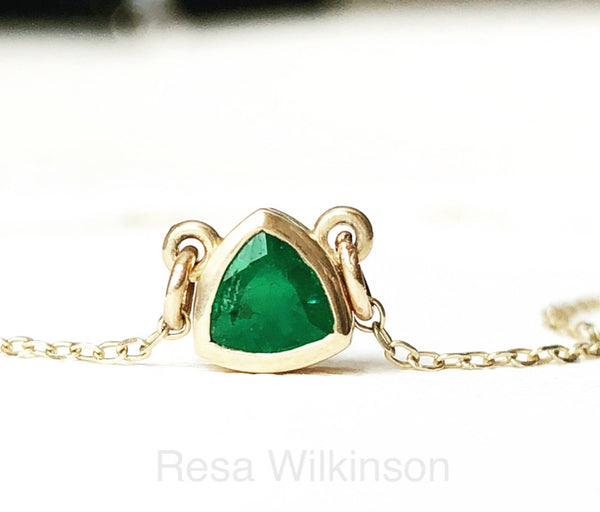Emerald Trillion Cut Solitaire Necklace 14k Yellow Triangle Shape