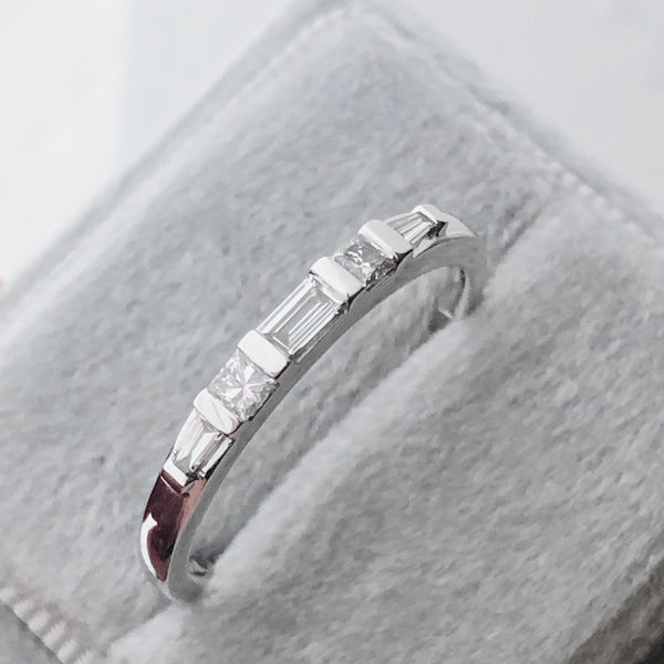 Baguette and Princess Cut Diamond Anniversary Band