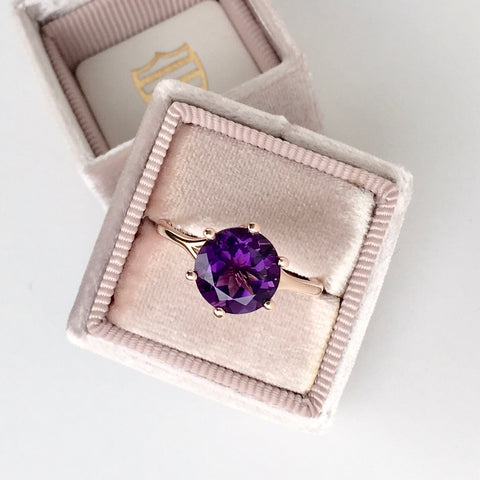 Amethyst Rose Gold Six Prong Ring 2.56 Carat