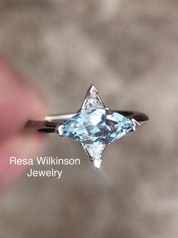 Marquise Aquamarine and Triangle Diamond Engagement Ring