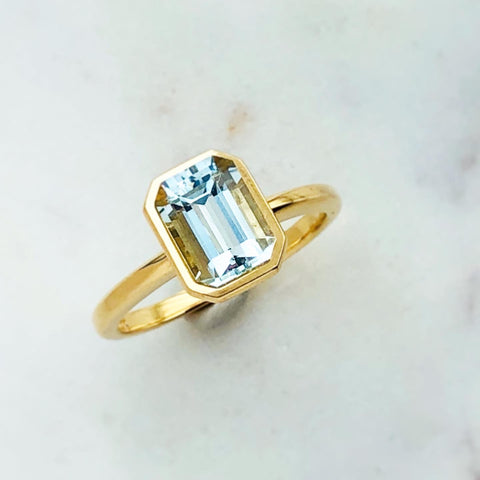 Emerald Cut Aquamarine Bezel Set Ring Solid 18k Yellow Fair Trade Gemstone