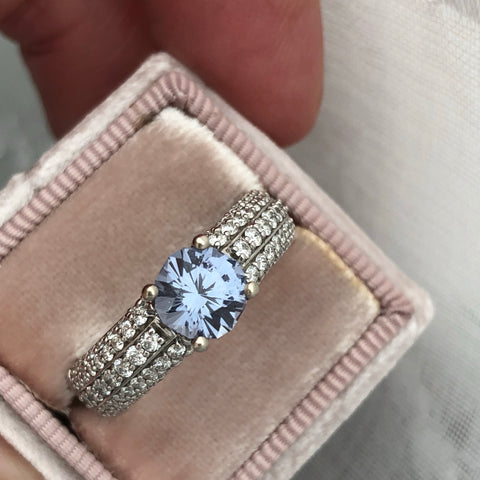 Blue Spinel in 3/4 Diamond Ring 14k White