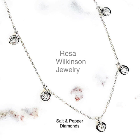 Salt and Pepper Diamond Necklace 18k white
