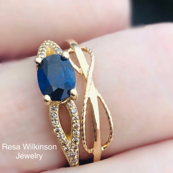 Blue Sapphire and Champagne Diamond Ring Set East West