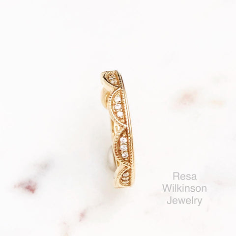 Diamond Arches Stackable Ring 14k