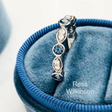 Malawi Denim Blue Sapphire and Diamond Platinum Band