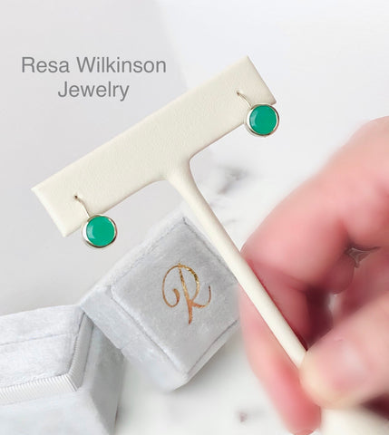 Chrysoprase Apple Green Drop Earrings Bezel Set 14k White