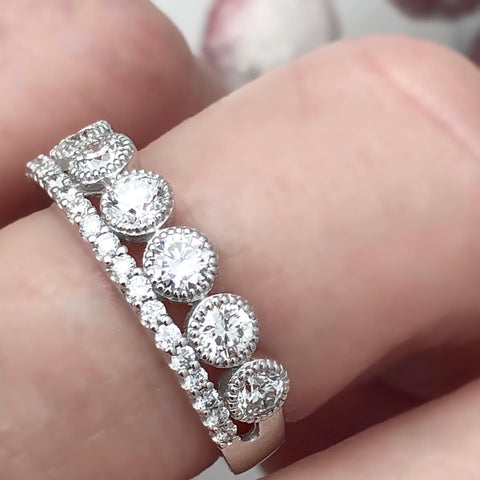 One Carat Double Row Diamond Ring