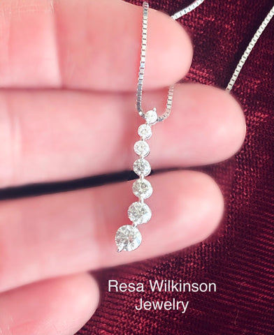Salt and Pepper Diamond Journey Necklace 14k white