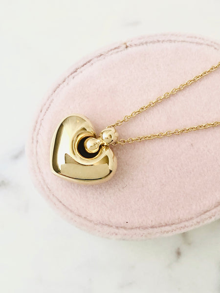 Gold Puff Heart Shaped Necklace 14k Yellow