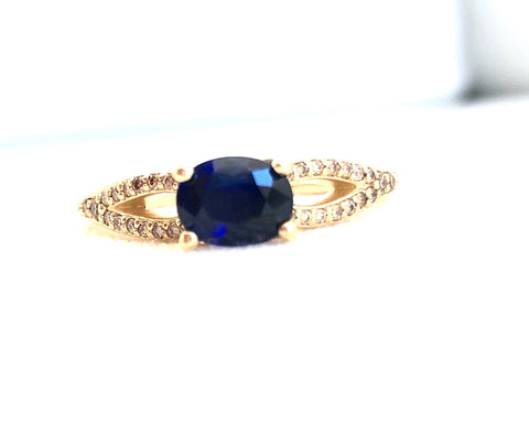 Blue Sapphire and Champagne Diamonds Ring Set East West