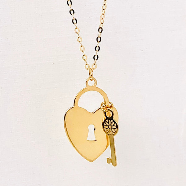 Key to Heart Padlock Necklace 14k Yellow Gold