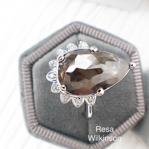 Rose Cut Pear Shaped Diamond Engagement Ring