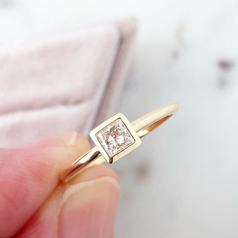 Square GIA Diamond Bezel Set Ring Minimalist Style