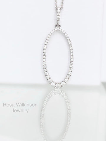 Oval Diamond Necklace Pave Diamonds
