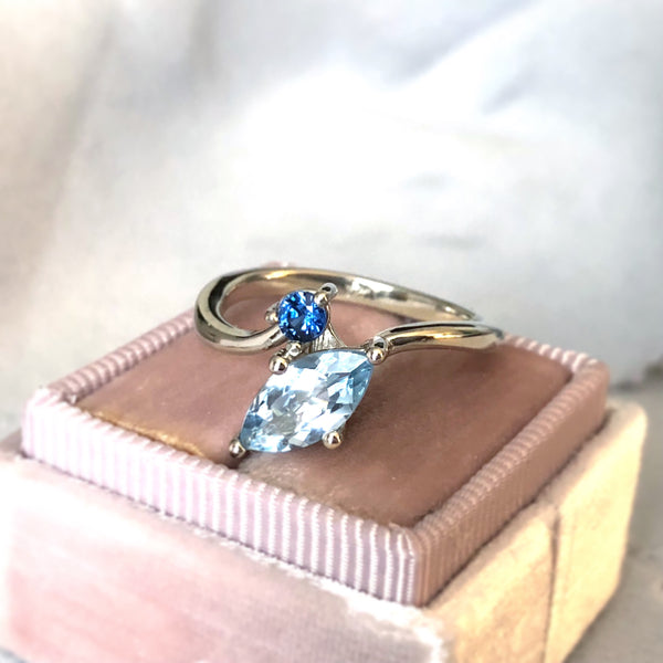 Aquamarine and Blue Sapphire Two Gem Ring 14k