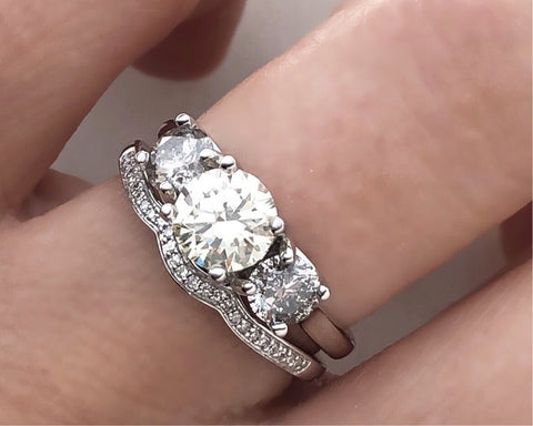 Three Stone Ring Champagne Diamond with Salt and Pepper Grey Diamond Accents and Matching Band