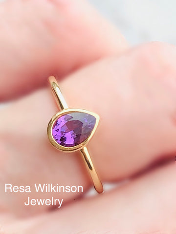 Pear Shape Purple Sapphire 18k Bezel Set Solitaire Ring
