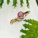Pink Spinel Gold Fern Ring Nature Inspired