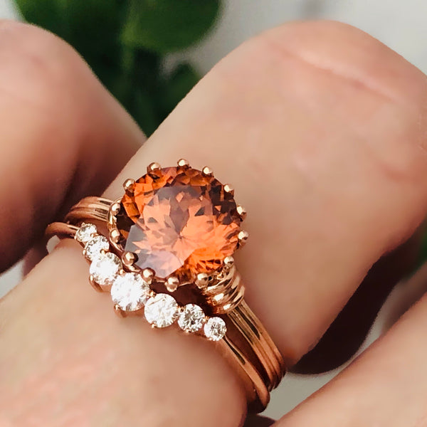 Sunset Zircon Rose Gold Ring Sixteen Prongs Natural Gemstone
