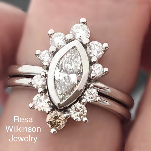 Marquise Diamond Ombre Halo Engagement and Matching Band
