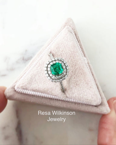 Asscher Cut Emerald and Diamond Double Halo Ring