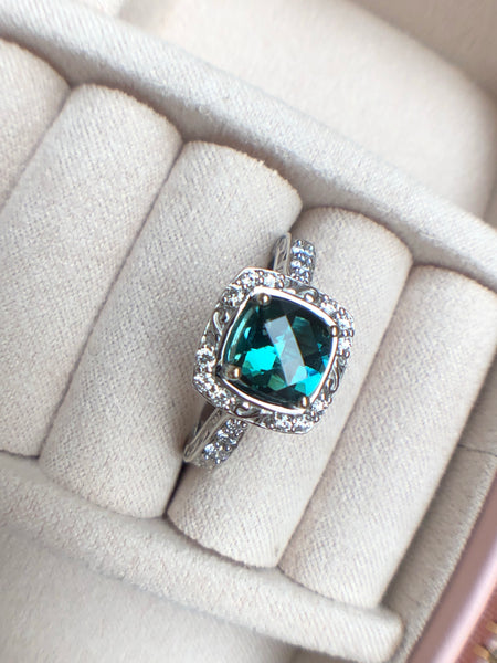 Teal Tourmaline Diamond Halo Ring Fair Trade Gemstone