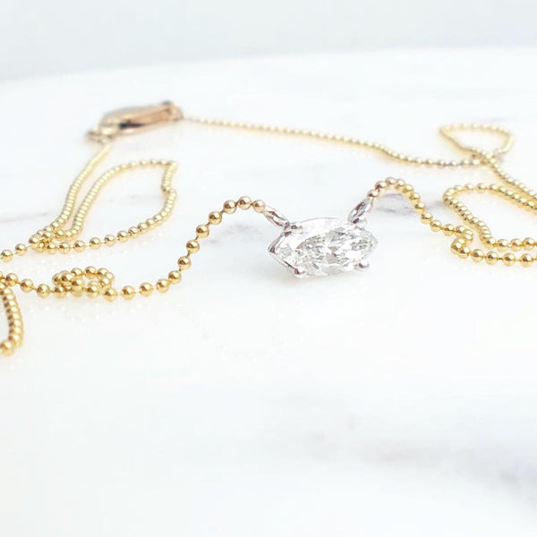 Diamond Marquise Two Tone Gold Necklace East West