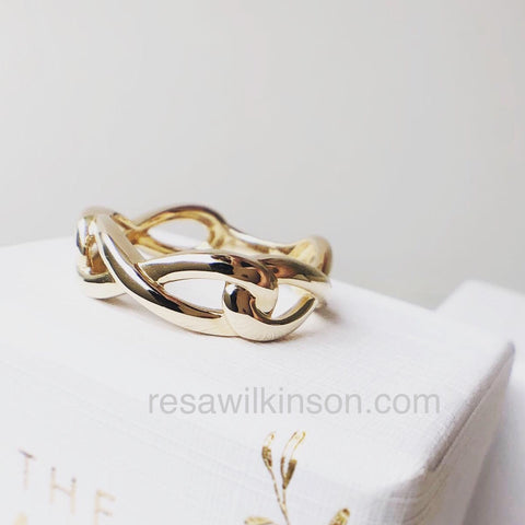 Infinity Ring 14k Yellow Unisex Wedding Band