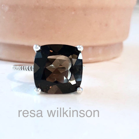 Antique Square Smoky Quartz Solitaire Ring Sterling Silver