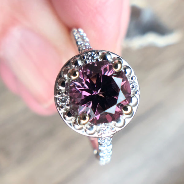 Purple Spinel and Diamond Halo Ring with Diamond Wrap Band