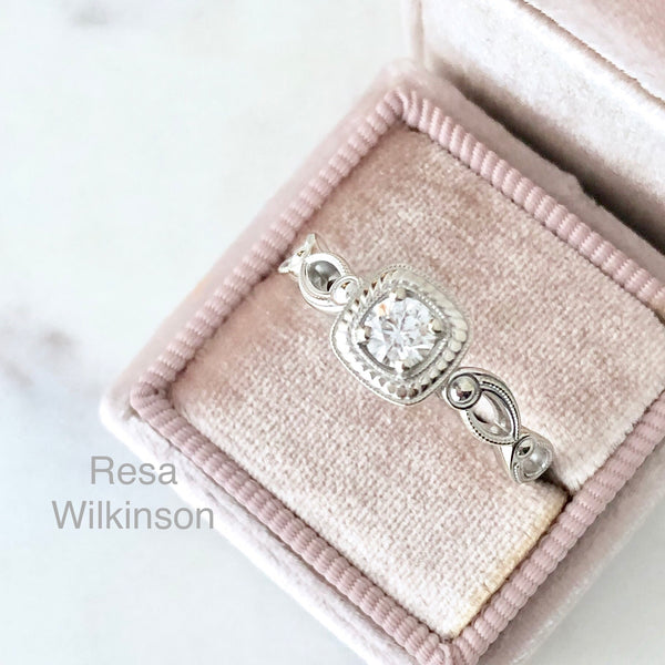 Vintage Inspired Diamond Engagement Ring AGS Certified